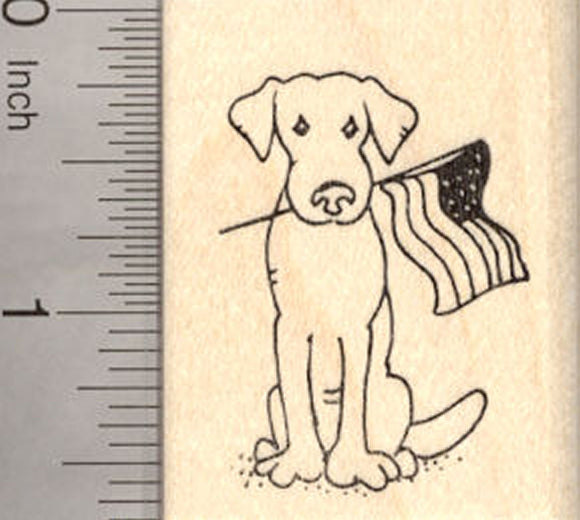4th of July Dog Rubber Stamp, with American Flag