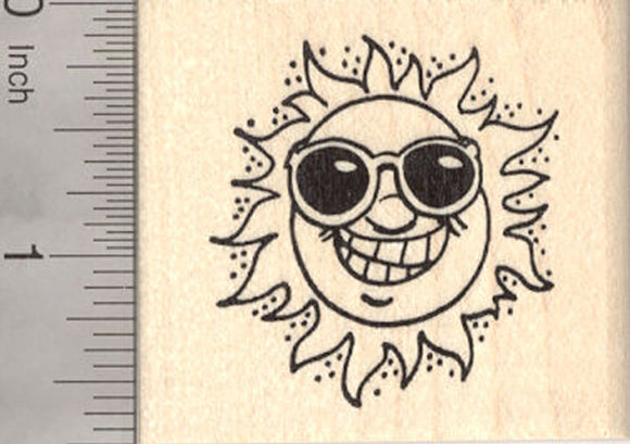 Sun Rubber Stamp, Grinning in Sunglasses