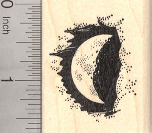 Crescent Moon at Night Rubber Stamp, Eclipse