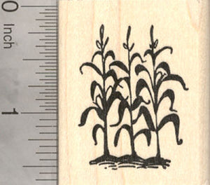 Corn Stalks in Garden Rubber Stamp, in Silhouette