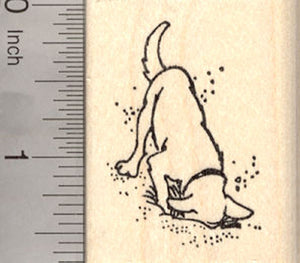 Digging Dog Rubber Stamp
