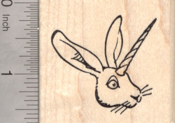 Unihare Rubber Stamp, Bunny Rabbit with Unicorn Horn