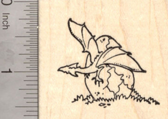 Hatching Baby Dragon Egg Rubber Stamp, Medieval