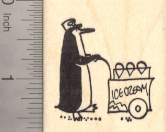 Penguin Ice Cream Cart Rubber Stamp, Frozen Dessert Vendor