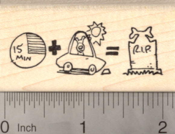 Hot Car Reminder Rubber Stamp, Animal Welfare, Dog or Pet
