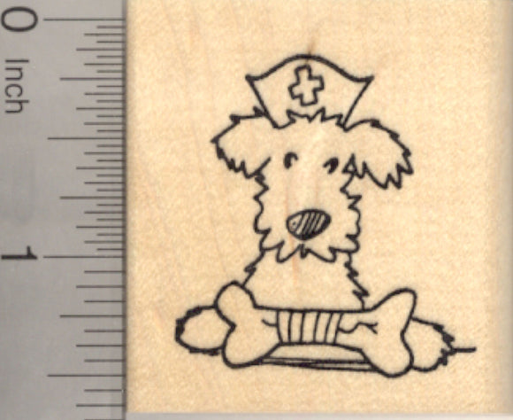 Get Well Terrier Rubber Stamp with Broken Dog Bone and Nurse Hat