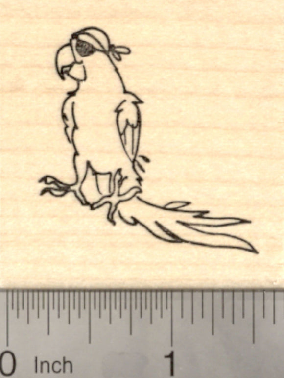 Parrot Pirate Rubber Stamp, with eye patch and swagger
