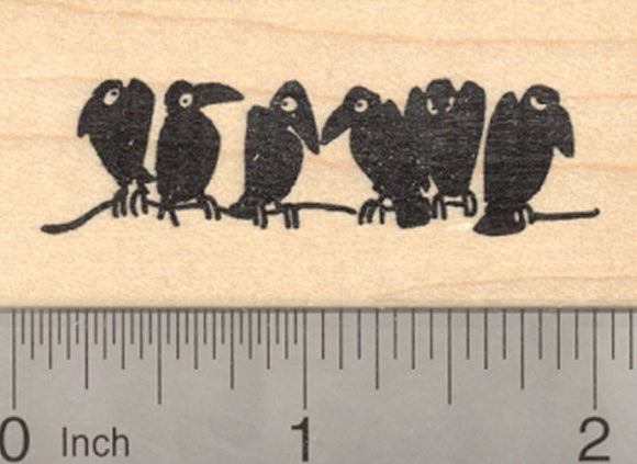 Raven Rubber Stamp, Blackbird, Crow, Birds on a Wire