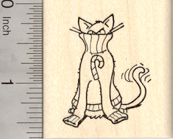 Christmas Cat Rubber Stamp, in Holiday Sweater