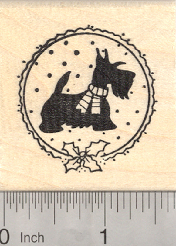 Christmas Scottish Terrier Rubber Stamp, Scotty Dog in Scarf