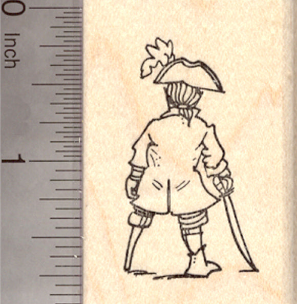 Small Pirate Rubber Stamp, Rear view with hat, cutlass, and pegleg