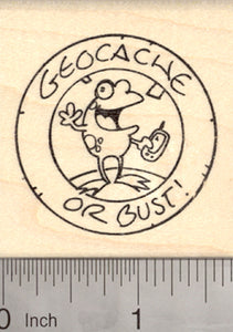Geocache Coin Rubber Stamp, with Frog and GPS, Geocaching