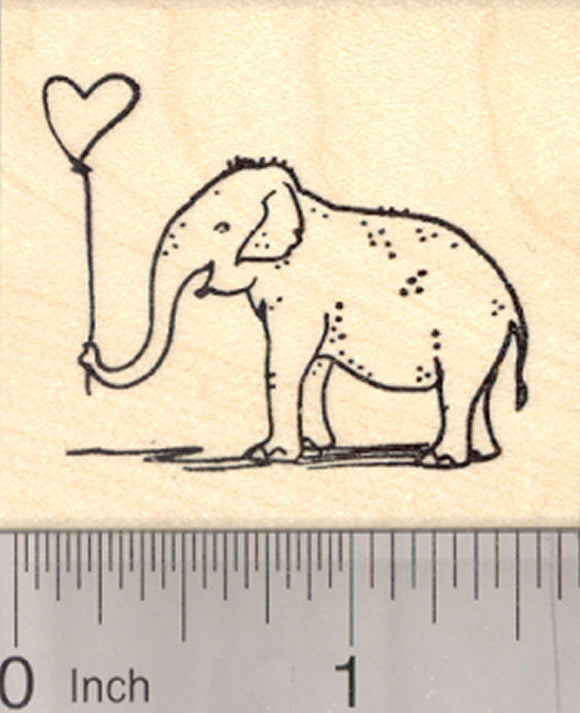 Valentine's Day Elephant Rubber Stamp, with Heart Balloon