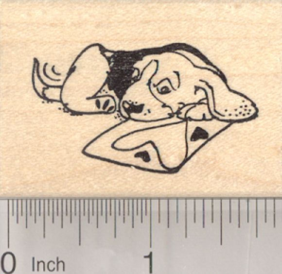 Valentine's Day Beagle Dog Rubber Stamp, with Valentine Card