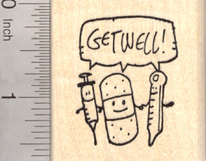 Get Well Rubber Stamp, with Syringe, Bandage, and Thermometer