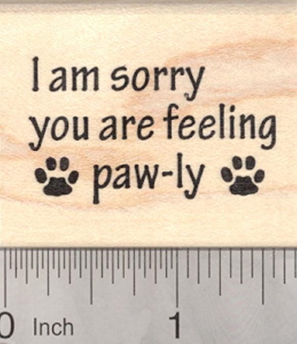 Get Well Soon Rubber Stamp, Paw prints, Cat, Dog