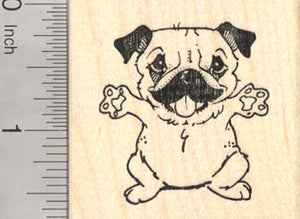 Pug Hug Rubber Stamp, Dog