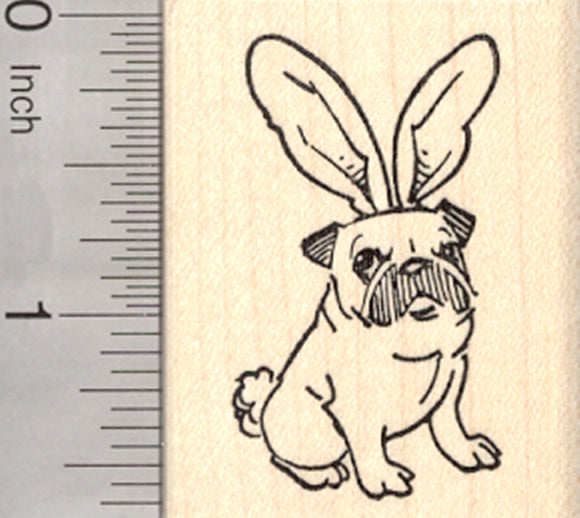 Easter Pug Rubber Stamp, in Bunny Rabbit Ears