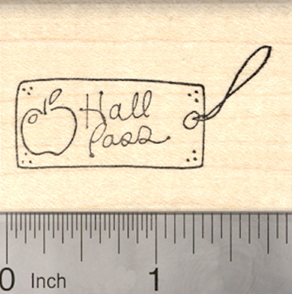 Hall Pass Rubber Stamp, School Teacher Theme