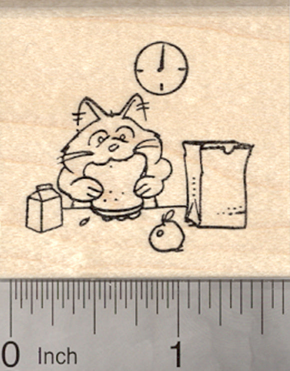 School Lunch Rubber Stamp, Cat eating Sandwich from a Sack