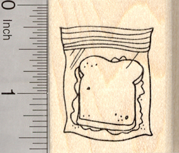 Sandwich Rubber Stamp, School Lunch in Bag