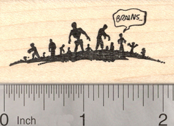 Halloween Zombie Horde Rubber Stamp, Undead Corpses Seeking Brains