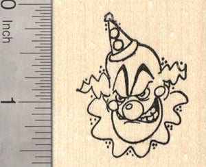 Deranged Clown Halloween Rubber Stamp, Scary Face, Circus Series