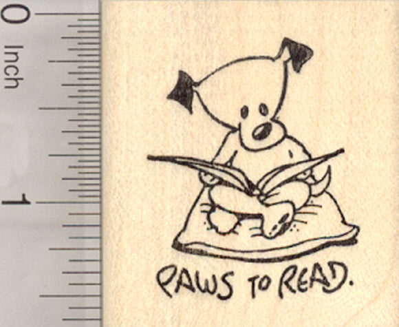Dog Reading Rubber Stamp, Puppies and Kids Need to Read, Educational Series
