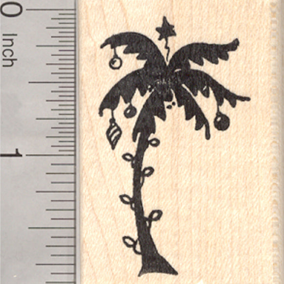 Tropical Christmas Tree Rubber Stamp, Holiday Palm Tree Silhouette