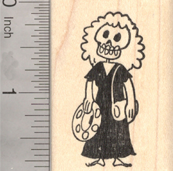 Skeleton Rubber Stamp, Playing Tambourine, Percussion, Day of the Dead, Halloween, Día de Muertos