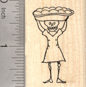 Day of the Dead Rubber Stamp, Carrying Bread, Halloween, Día de Muertos