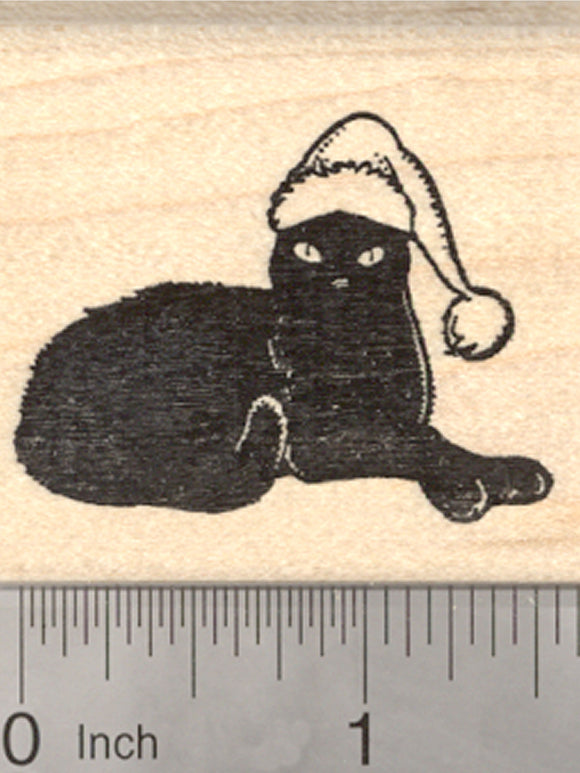 Christmas Black Cat Rubber Stamp, Feline in Santa Hat