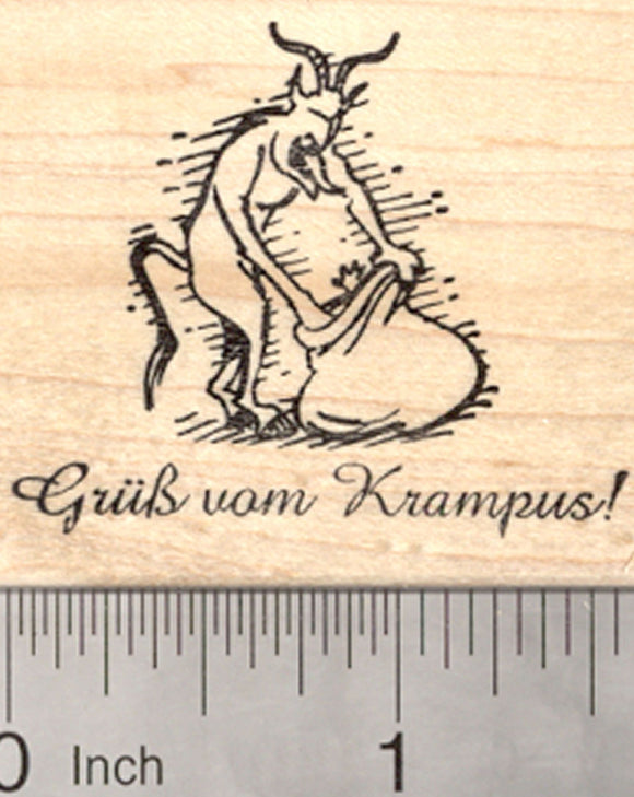 Christmas Krampus Rubber Stamp, Grub vom saying, with sack and captive