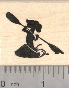 Dachshund Kayak Rubber Stamp, Paddling Dog in Silhouette