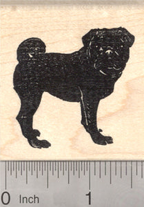 Black Pug Rubber Stamp, Dog