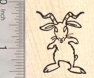 Easter Bunny Krampus Rubber Stamp, Scary Rabbit with Horns
