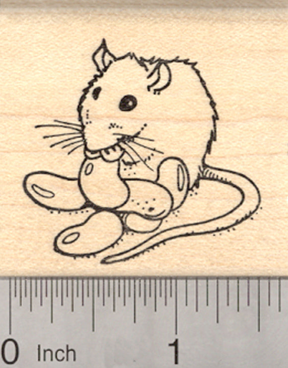 Easter Rat Eating Jelly Beans Rubber Stamp, Candy