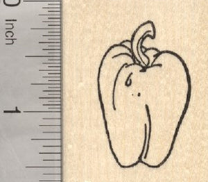 Bell Pepper Rubber Stamp, Garden Produce