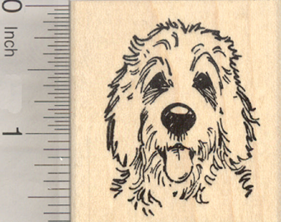 Golden Doodle Rubber Stamp, Dog Hybrid of Poodle and Golden Retriever