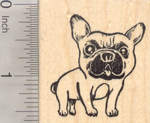 French Bulldog Rubber Stamp, Frenchie, Dog