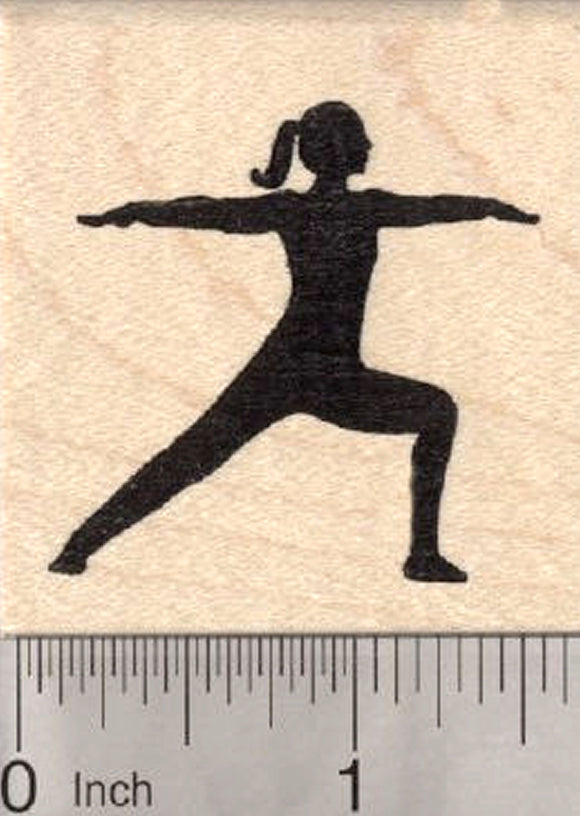 Warrior Pose Rubber Stamp, Yoga Asana, Virabhadrasana II