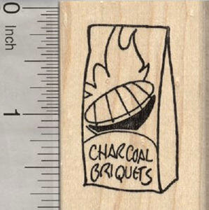 Charcoal Briquets Rubber Stamp, Barbecue, Grill Out Theme