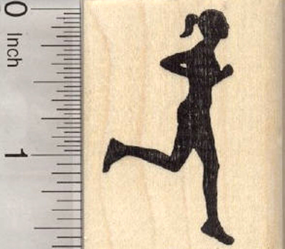 Running Woman Rubber Stamp, Silhouette Female Runner