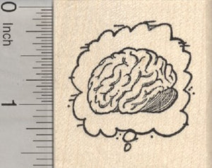 Zombie Thought Balloon Rubber Stamp, Brain