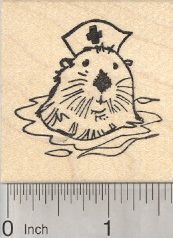 Nurse Otter Rubber Stamp, Get Well Series