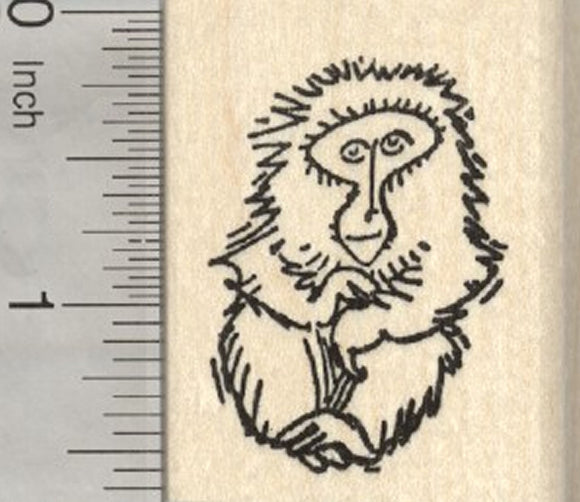 Rhesus Macaque Monkey Rubber Stamp, Japanese