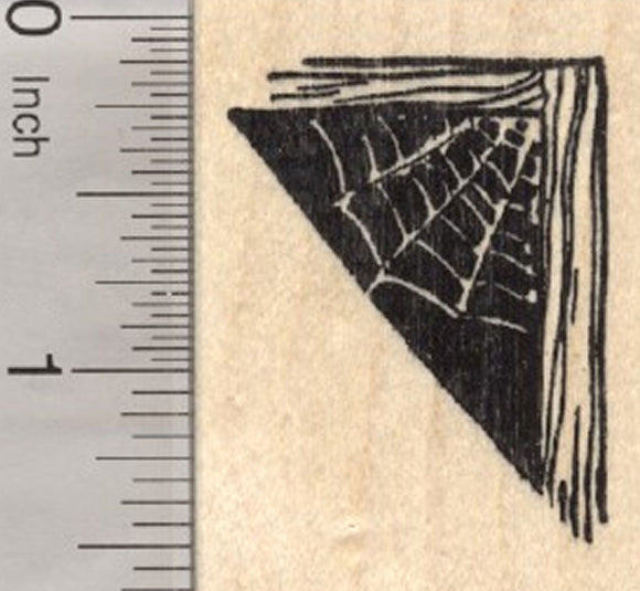 Halloween Spider Web Rubber Stamp, Corner Cobweb