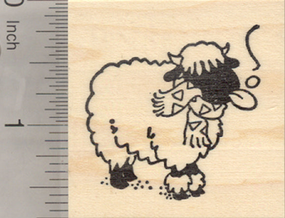 Holiday Valais Blacknose Sheep Rubber Stamp, in Snow