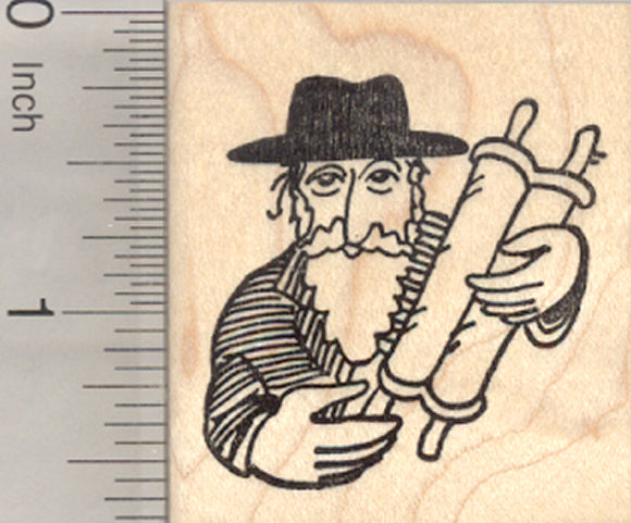 Rabbi with Torah Rubber Stamp, Jewish Teacher