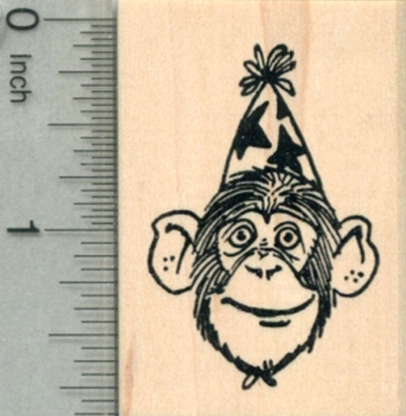 Party Chimpanzee Rubber Stamp, Chimp in Birthday Hat